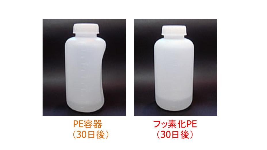 HDPE容器とフッ素処理容器の溶媒保管での変形の様子